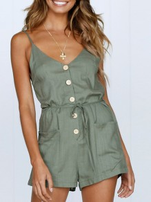 Green Pockets Sashes Buttons Drawstring Waist Fashion Short Jumpsuit