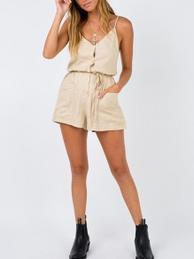 Apricot Pockets Sashes Buttons Drawstring Waist Fashion Short Jumpsuit
