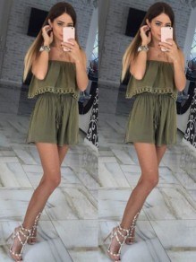 Green Patchwork Sashes Pockets Lace 2-in-3 Mid-rise Casual Short Jumpsuit