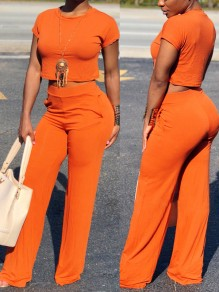 Orange Pockets Two Piece High Waisted Wide Leg Elegant Casual Long Jumpsuit