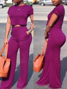 Purple Pockets Two Piece High Waisted Wide Leg Elegant Casual Long Jumpsuit