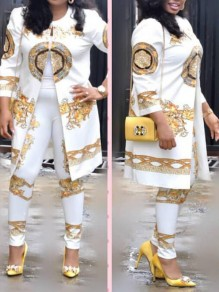 White Tribal Floral Print 3/4 Sleeve Two Piece Vintage Long Jumpsuit