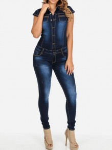 Blue Denim Pockets Single Breasted Bodycon High Waisted Turndown Collar Long Jumpsuit