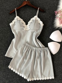 Grey Patchwork Condole Belt 2-in-1 Lace Elastic Waist Short Jumpsuit
