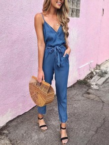 Blue Pockets Sashes Spaghetti Strap Deep V-neck High Waisted Casual Long Jumpsuit