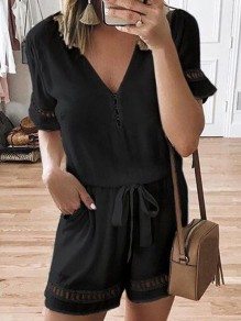 Black Belt V-neck Short Sleeve Fashion Short Jumpsuit