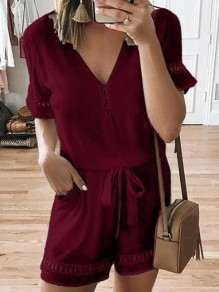 Wine Red Belt V-neck Short Sleeve Fashion Short Jumpsuit