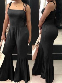 Black Pleated Spaghetti Strap Backless High Waisted Bell Bottom Casual Long Jumpsuit
