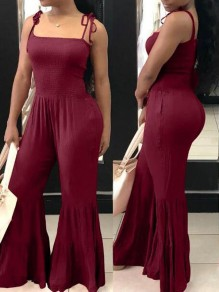 Burgundy Pleated Spaghetti Strap Backless High Waisted Bell Bottom Casual Long Jumpsuit