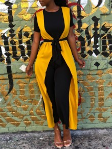 Black-Yellow Ruffle False 2-in-1 Short Sleeve Casual High Waisted Wide Leg Palazzo Jumpsuit