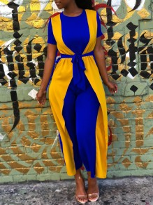 Blue-Yellow Ruffle False 2-in-1 Short Sleeve Casual High Waisted Wide Leg Palazzo Jumpsuit