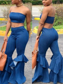 Blue Bandeau Off Shoulder Two Piece Cascading Ruffle Backless Denim High Waisted Bell Bottomed Flares Jumpsuit
