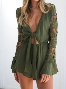 Green Lace Ruffle Cut Out High Waisted Fashion Short Jumpsuit