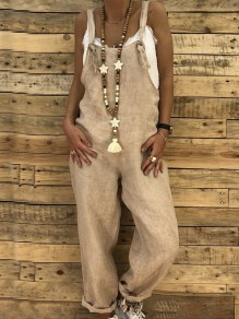 Khaki Pockets Multi-Functional Mid-rise Casual Boho Mexican Long Jumpsuit Overall Pants