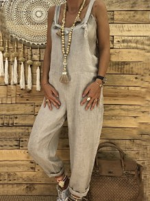 Grey Pockets Mid-rise Casual Long Jumpsuit Overall Pants