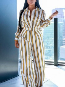 Yellow Striped Deep V-neck Buttons Slit Two Piece Flowy Elegant Party Long Jumpsuit