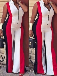 Red Zipper V-neck Bodycon Wide Leg High Waisted Elegant Casual Long Jumpsuit