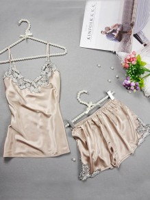 Champagne Patchwork Condole Belt 2-in-1 Embroidery Elastic Waist Short Jumpsuit