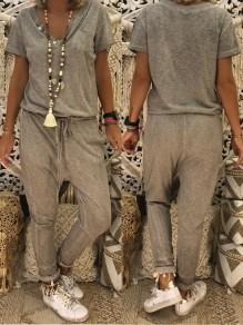 Grey Drawstring Pockets Buttons Casual Long Jumpsuit