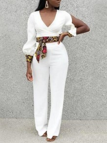 White Love Pattern Cut Out Sashes Backless Lantern Sleeve Wide Leg Long Jumpsuit
