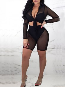 Black Grenadine Sheer Two Piece Knot Deep V-neck Bodycon Clubwear Party Short Jumpsuit