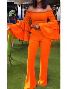 Orange Ruffle Pockets Off Shoulder Flare Sleeve Dramatic Sleeves Elegant Wide Leg Long Jumpsuit