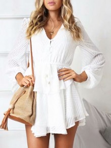 White Ruffle Drawstring Buttons Fashion Short Jumpsuit