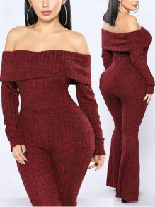 Burgundy Off Shoulder Bodycon Long Sleeve High Waisted Booty Sweater bell bottom Jumpsuit Pants