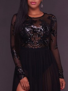 Black Sequin Glitter Grenadine Cut Out Backless Bodycon Clubwear Party Short Jumpsuit