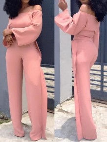 Pink Ruffle Off Shoulder High Waisted Elegant Party Wide Leg Long Jumpsuit