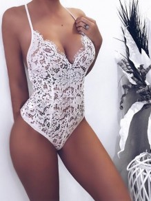 White Patchwork Lace Spaghetti Strap V-neck Short Jumpsuit