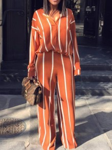 Orange White Striped Print Two Piece Deep V-neck Long Sleeve Casual Long Jumpsuit