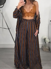 Brown Striped Print Two Piece High Waisted Cardigan Wide Leg Casual Long Jumpsuit