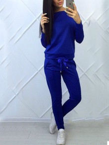 Royal Blue Drawstring Bowknot 2-in-1 Pockets Sporty Casual Long Jumpsuit