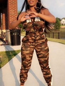 """Camouflage """"BABY GIRL"""" Print Zipper Pockets High Waisted Casual Long Jumpsuit"""