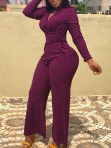 Burgundy Pockets High Waisted Bodycon Wide Leg Deep V-neck Long Sleeve Elegant Long Jumpsuit