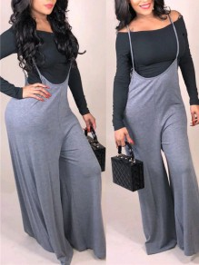 Grey-Black Off Shoulder Two Piece Casual Long Wide Leg Palazzo Overall Jumpsuit