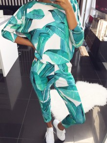 Light Green Pattern 2-in-1 Collarless Round Neck Long Sleeve Fashion Long Jumpsuit