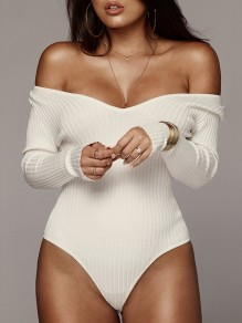 White Irregular Off Shoulder Long Sleeve Casual Clubwear Sweater Short Jumpsuit Bodysuit Pants