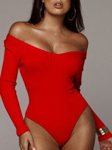 Red Irregular Off Shoulder Long Sleeve Casual Clubwear Sweater Short Jumpsuit Bodysuit Pants