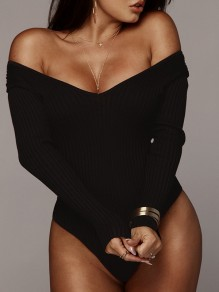 Black Irregular Off Shoulder Long Sleeve Casual Clubwear Sweater Short Jumpsuit Bodysuit Pants