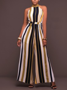 Yellow Striped Print Belt Halter Neck Bohemian Office Worker Casual Long Wide Leg Jumpsuit Pants