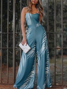 Blue Palm Tree Pattern Spaghetti Strap High Waisted Casual Wide Leg Long Jumpsuit