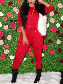 Red Patchwork Pearl Two Piece High Waisted Round Neck Long Sleeve Casual Long Jumpsuit