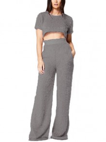 Pink Pockets Fur Crop Two Piece High Waisted Casual Long Wide Leg Palazzo Jumpsuit Pants