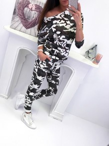 Black Camouflage Drawstring High Waisted Sweet Going out Party Long Jumpsuit