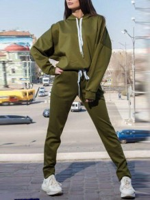Army Green Drawstring Pockets Hooded Long Sleeve Casual Long Jumpsuit