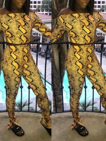 Yellow Leopard Snakeskin Print Off Shoulder Two Piece Bodycon Catsuit Flare Long Jumpsuit