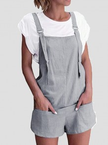 Grey Shoulder-Strap Pockets Sweet Cute Casual Overall Pants Short Jumpsuit