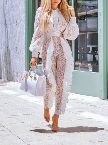 White Patchwork Grenadine Lace Cascading Ruffle Long Sleeve Sheer Long Clubwear Party Jumpsuit